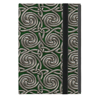 Silver And Green Celtic Spiral Knots Pattern iPad Mini Cover