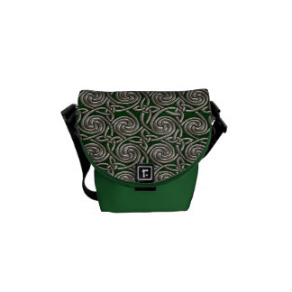 Silver And Green Celtic Spiral Knots Pattern Courier Bags