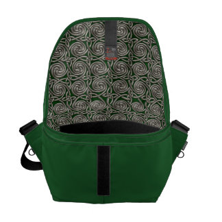 Silver And Green Celtic Spiral Knots Pattern Messenger Bags