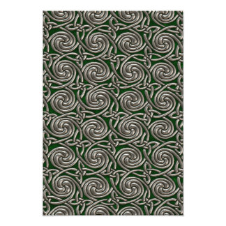 Silver And Green Celtic Spiral Knots Pattern Art Photo