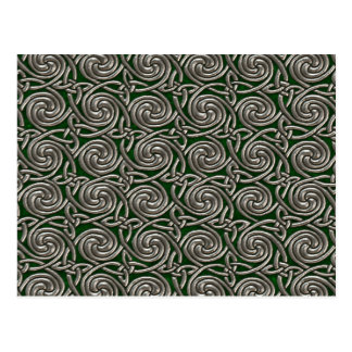 Silver And Green Celtic Spiral Knots Pattern Postcard