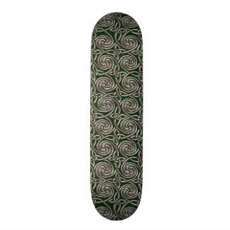 Silver And Green Celtic Spiral Knots Pattern Custom Skate Board