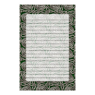 Silver And Green Celtic Spiral Knots Pattern Stationery Paper