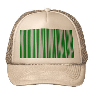 Silver and Green Christmas Stripes Trucker Hats