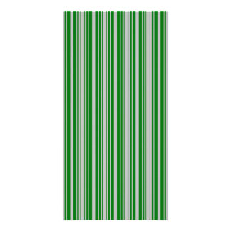 Silver and Green Christmas Stripes Personalized Photo Card