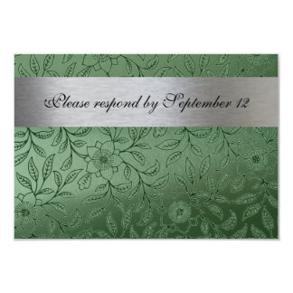 Silver and Green rsvp with envelope 9 Cm X 13 Cm Invitation Card