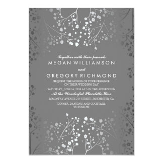 Silver and Grey Baby's Breath Wedding Invitations