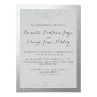 Silver and Grey Foil Wedding Invitations