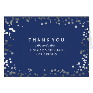 Silver and Navy Confetti Elegant Wedding Thank You Card