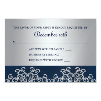 Silver and Navy Indian Style Wedding RSVP Card 9 Cm X 13 Cm Invitation Card