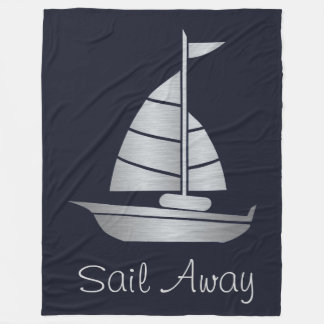 Silver and Navy Sail Away Fleece Sailboat Blanket