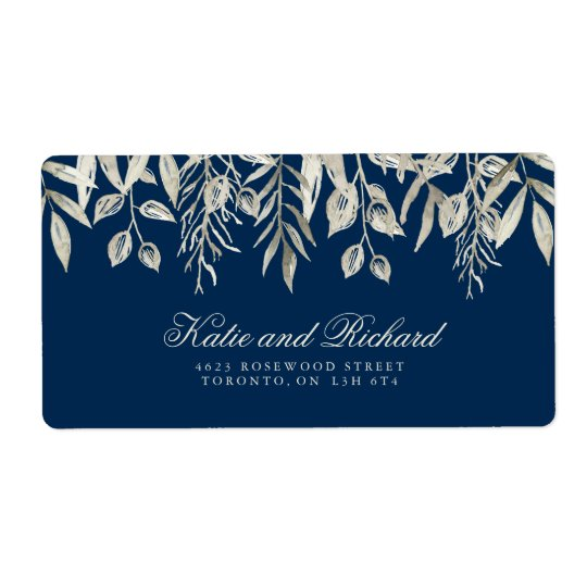 Silver and Navy Wedding Address Labels