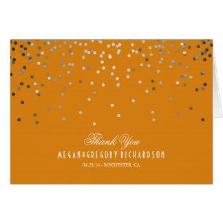 Silver and Orange Confetti Wedding Thank You Card
