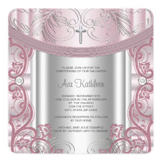 Silver and Pink Baby Girl Christening 13 Cm X 13 Cm Square Invitation Card