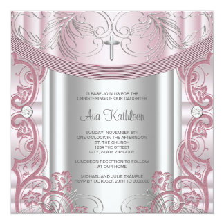 Silver and Pink Baby Girl Christening Personalized Invites