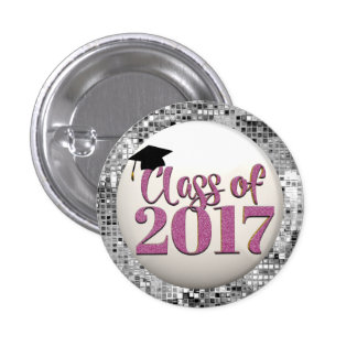 Silver And Pink Class Of 2017 Graduation Button