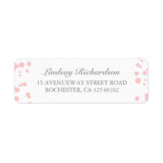 Silver and Pink Confetti Elegant Wedding Return Address Label