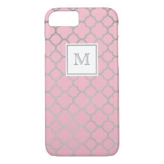 Silver and pink quatrefoil pattern Phone case