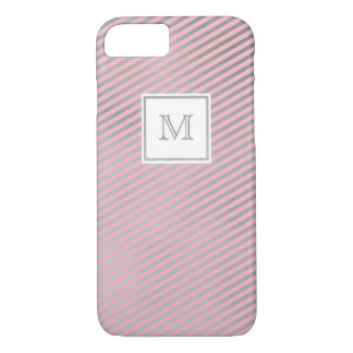 Silver and pink striped Phone case