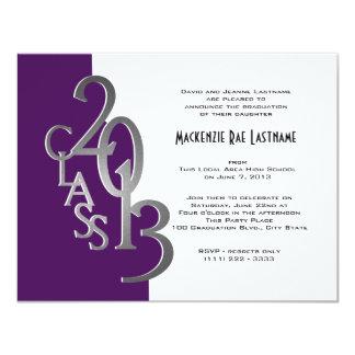 """Silver and Purple 2013 Graduation Invitation 4.25"""" X 5.5"""" Invitation Card"""