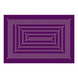 Silver And Purple Celtic Rectangular Spiral Photo Print