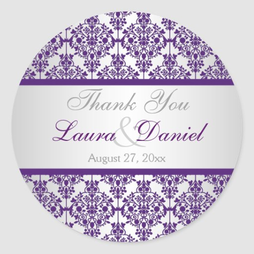 """Silver and Purple Damask 1.5"""" Thank You Sticker"""