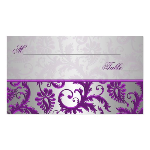 Silver and Purple Damask II Place Cards Business Card Templates