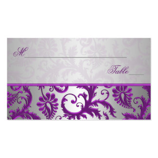 Silver and Purple Damask II Place Cards Pack Of Standard Business Cards