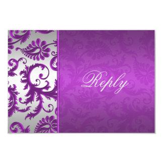 Silver and Purple Damask II Reply Card 9 Cm X 13 Cm Invitation Card