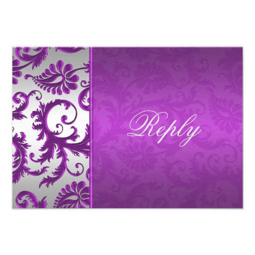 Silver and Purple Damask II Reply Card Personalized Invite