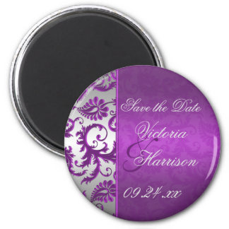 Silver and Purple Damask II Save the Date Magnet