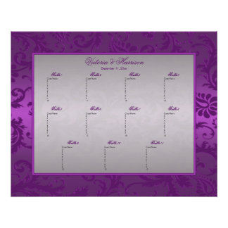Silver and Purple  Damask II Table Seating Poster