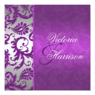 Silver and Purple Damask II Wedding Invitation