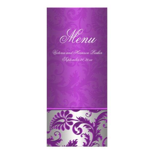 Silver and Purple Damask II Wedding Menu Card Invite