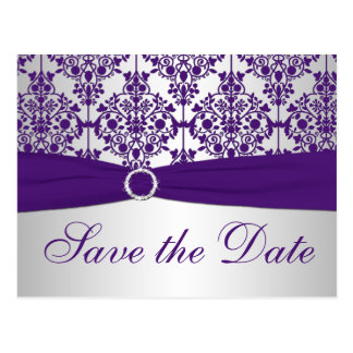 Silver and Purple Damask Save the Date Card Postcard