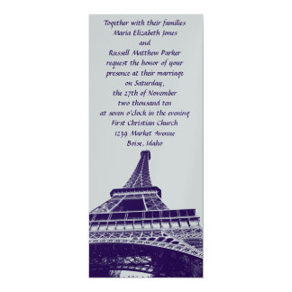 Silver and Purple Eiffel Tower Wedding Invitations