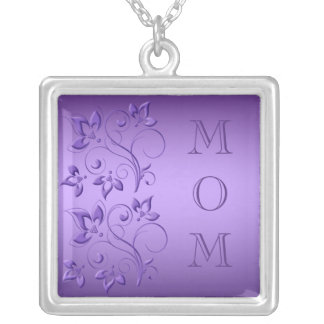 """Silver and Purple Floral """"Mom"""" Necklace"""