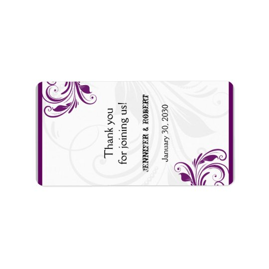 Silver and Purple Floral Wedding Lip Balm Label Address Label