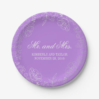 Silver and Purple Floral Wreath Vintage Wedding Paper Plate
