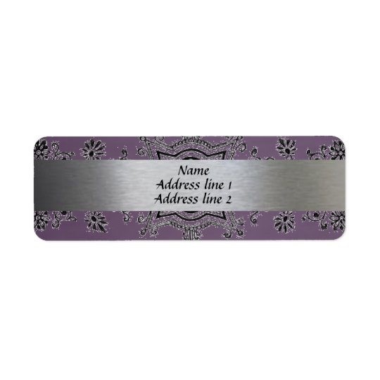 Silver and Purple Metallic Address labels