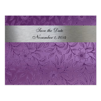 Silver and Purple Metallic Save the Date Postcard
