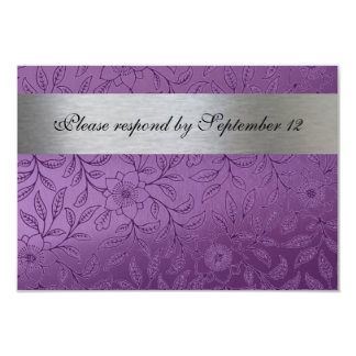 Silver and Purple rsvp with envelope 9 Cm X 13 Cm Invitation Card