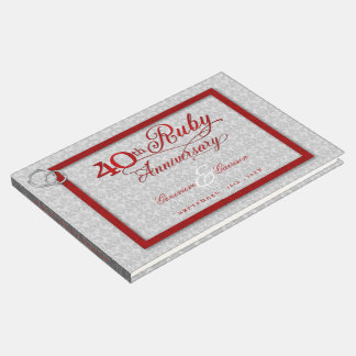 Silver and Red 40th Ruby Anniversary with Photo Guest Book