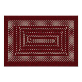 Silver And Red Celtic Rectangular Spiral Photo