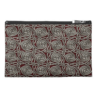 Silver And Red Celtic Spiral Knots Pattern Travel Accessories Bags