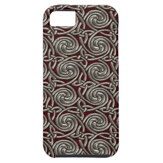Silver And Red Celtic Spiral Knots Pattern iPhone 5 Cover