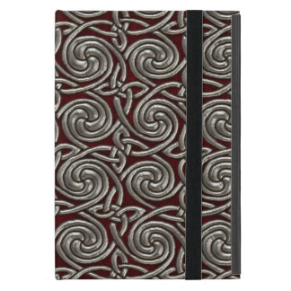 Silver And Red Celtic Spiral Knots Pattern iPad Mini Cases
