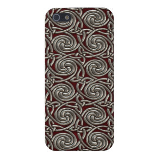 Silver And Red Celtic Spiral Knots Pattern iPhone 5/5S Covers