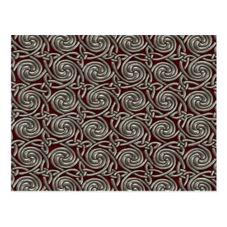 Silver And Red Celtic Spiral Knots Pattern Post Card
