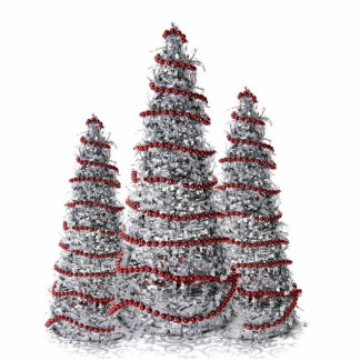 Silver and Red Christmas Tree Holiday Ornaments Photo Sculpture